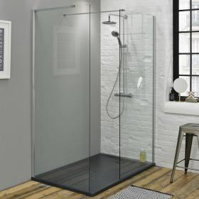 Summit 1600 x 800mm Walk In Shower with End Panel & Slate Effect Tray