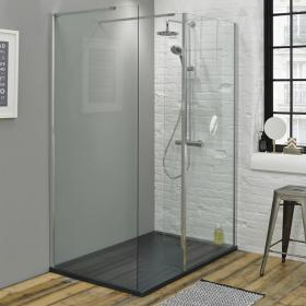 Summit 1600 x 800mm Walk In Shower with Return Panel & Slate Effect Tray