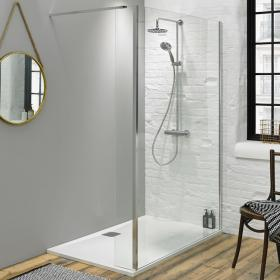 Fino 1100mm Walk In Shower Screen with Return Panel & Shower Tray