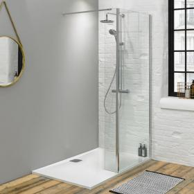 Fino 1700mm Walk In Shower Enclosure, Return Panel & Shower Tray