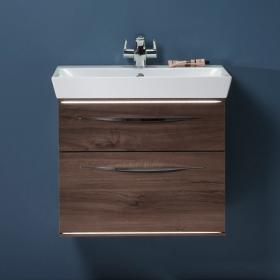 Roper Rhodes Scheme 600mm Smoked Walnut Wall Mounted Vanity Unit and Basin