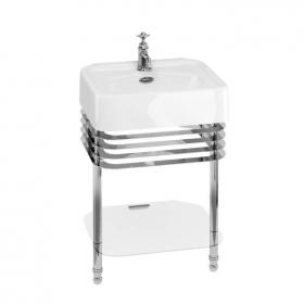 Arcade 600mm Basin with Chrome Wash Stand & Glass Shelf