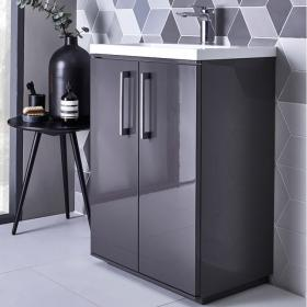 Roper Rhodes Scheme 600mm Gloss Dark Clay Freestanding Unit & Basin