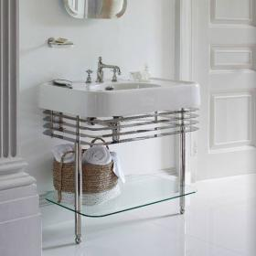 Arcade 900mm Basin with Nickel Wash Stand & Glass Shelf
