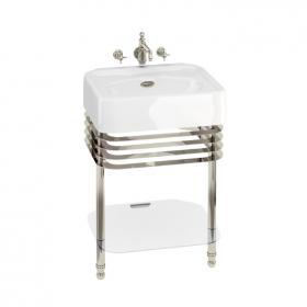 Arcade 600mm Basin with Nickel Wash Stand & Glass Shelf
