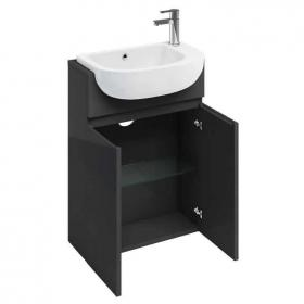 Photo of Aqua Cabinets Compact 600mm Anthracite Semi Recessed Vanity Unit & Basin