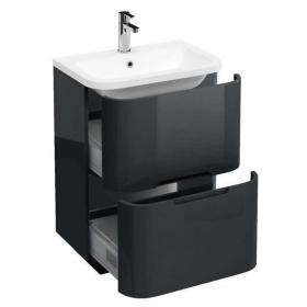 Photo of Aqua Cabinets Compact Anthracite 600mm Two Drawer Unit & Basin