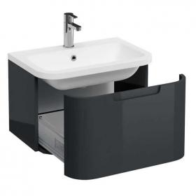 Photo of Aqua Cabinets Compact Anthracite 600mm Wall Hung Vanity Unit & Basin