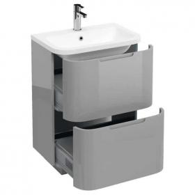 Photo of Aqua Cabinets Compact Light Grey 600mm Two Drawer Unit & Basin
