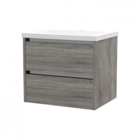 Frontline City 600mm Grey Ash 2 Drawer Wall Unit & Ceramic Basin