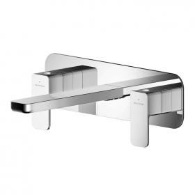 Photo of Asquiths Tranquil Wall Mounted Three Tap Hole Basin Mixer with Backplate