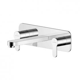 Photo of Asquiths Sanctity Wall Mounted Three Tap Hole Basin Mixer with Backplate