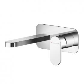 Photo of Asquiths Solitude Wall Mounted Two Tap Hole Basin Mixer with Backplate
