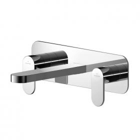 Photo of Asquiths Solitude Wall Mounted Three Tap Hole Basin Mixer with Backplate