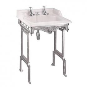 Burlington Classic Basin With Invisible Overflow & Waste With Aluminium Wash Stand