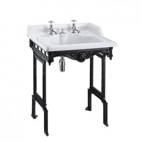 Burlington Classic Basin With Invisible Overflow & Waste With Black Aluminium Wash Stand