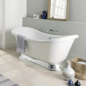 BC Designs Excelsior 1780mm White Acrylic Bath with Polished Plinth