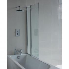 Britton Cleargreen Hinged Bathscreen with Fixed Panel