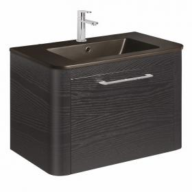 Bauhaus Celeste Black Ash 80 Unit & Plus+Ton Black Ceramic Basin