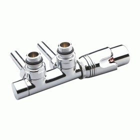 Photo of Phoenix Thermostatic Chrome Angled Twin Radiator Valve