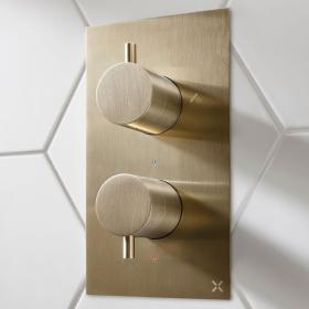 Photo of Crosswater MPRO Brushed Brass Thermostatic Bath Shower Valve