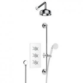 Heritage Dawlish Recessed Shower With Premium Fixed Head and Flexible Riser Kit Chrome Finish