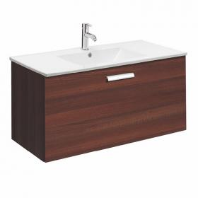 Bauhaus Design Plus 100 Walnut Drawer Unit & Ceramic Basin