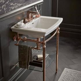 Heritage Dorchester Basin & Abingdon Washstand Rose Gold Finish