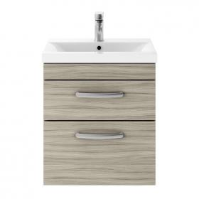 Dune 500mm Driftwood Wall Hung Double Drawer Unit & Basin