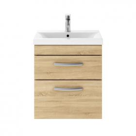 Dune 500mm Natural Oak Wall Hung Double Drawer Unit & Basin