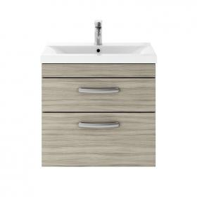 Dune 600mm Driftwood Wall Hung Double Drawer Unit & Basin