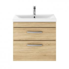 Photo of Dune 600mm Natural Oak Wall Hung Double Drawer Unit & Basin