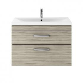Dune 800mm Driftwood Wall Hung Double Drawer Unit & Basin