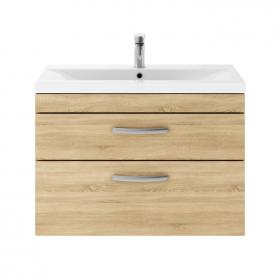 Dune 800mm Natural Oak Wall Hung Double Drawer Unit & Basin