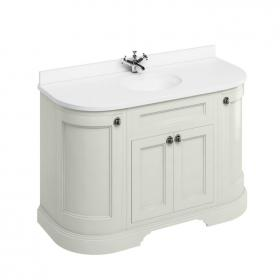 Burlington Sand 1340mm Curved Freestanding Vanity Unit, Worktop & Basin