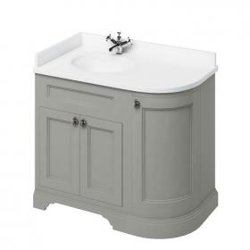 Burlington Olive 1000mm Curved Freestanding Vanity Unit, Worktop & Left Hand Basin