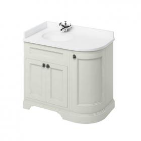 Burlington Sand 1000mm Curved Freestanding Vanity Unit, Worktop & Left Hand Basin