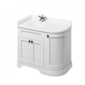 Burlington Matt White 1000mm Curved Freestanding Vanity Unit, Worktop & Left Hand Basin