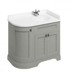 Burlington 1000mm Olive Curved Freestanding Vanity Unit, Worktop & Right Hand Basin
