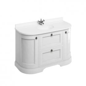 Burlington Matt White 1340mm Curved Freestanding Vanity Unit with Door & Drawers, Worktop & Basin
