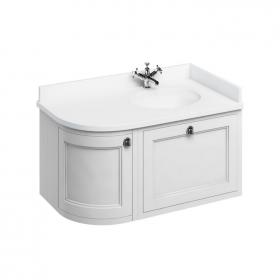 Burlington Matt White 1000mm Curved Wall Hung Vanity Unit, Worktop & Basin - Right Hand