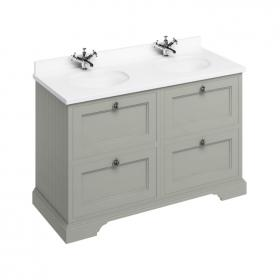 Photo of Burlington Olive 1300mm Double Vanity Unit with Drawers, Worktop & Basin