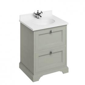 Burlington Olive 650mm Freestanding Vanity Unit with Drawers & Worktop