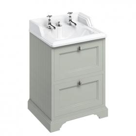 Photo of Burlington Freestanding 650mm Dark Olive Double Vanity Unit with Invisible Overflow Basin