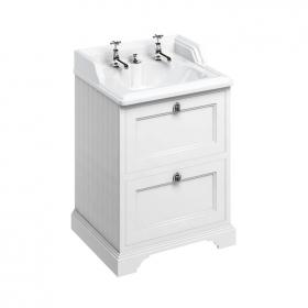 Burlington Freestanding 650mm Matt White Vanity Unit with Classic Invisible Overflow Basin