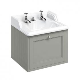 Burlington Dark Olive Wall Hung Vanity Unit with Invisible Overflow Basin