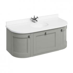 Burlington 1340mm Olive Curved Wall Hung Vanity Unit with Door & Drawers, Worktop & Basin