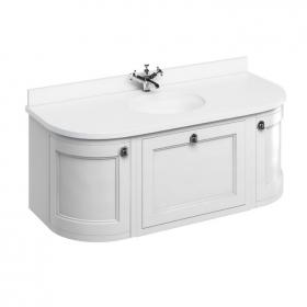 Burlington Matt White 1340mm Curved Wall Hung Vanity Unit with Door & Drawers, Worktop & Basin