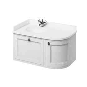 Burlington 1000mm Matt White Curved Wall Hung Vanity Unit, Worktop & Basin - Left Hand