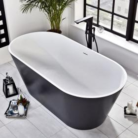 Frontline Graphite Stone Freestanding 1700 x 800mm Double Ended Bath